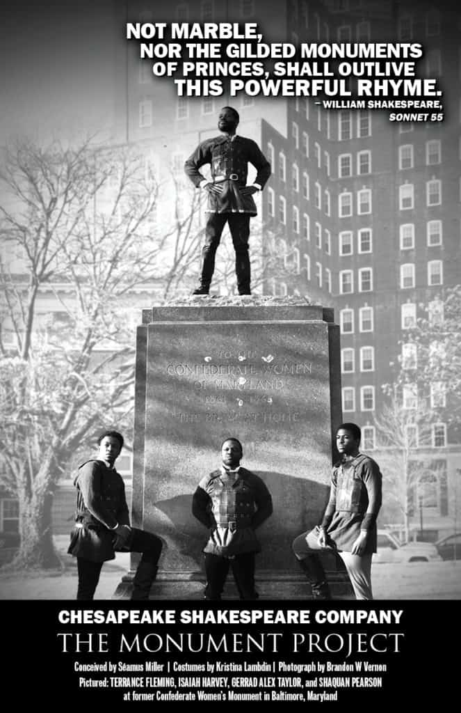 Terrance Fleming, Isaiah Harvey, Gerrad Alex Taylor, and Shaquan Pearson  at former Confederate Women's Monument in Baltimore, Maryland.