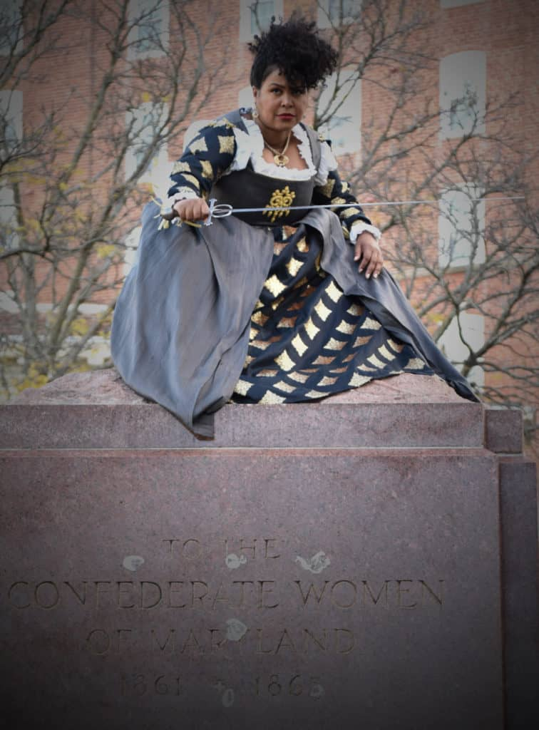 Behind The Scenes: Tamieka Chavis at former Confederate Women's Monument in Baltimore, Maryland.