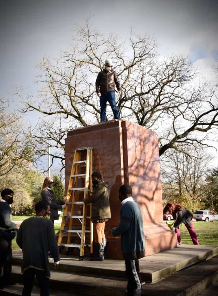 """""""If you're going to ask actors to climb up a fourteen foot pedestal, you'd better be willing to go first."""" Séamus Miller, Creator of The Monument Project"""